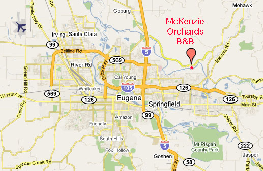 McKenzie Orchards B and B in the country, close to Eugene Oregon